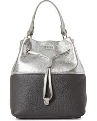 Furla - Lava Silver Stacy Mini Drawstring Bucket Bag - Lyst