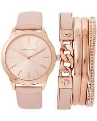 Adrienne Vittadini - Adst1751 Rose Gold-Tone Watch & Bracelet Set - Lyst