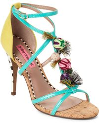 c61f8fc76a8 Betsey Johnson - Turquoise Rudy Embellished Strappy Sandals - Lyst