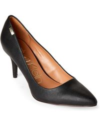 CALVIN KLEIN 205W39NYC - Black Kylie Lizard-embossed Pointed Toe Pumps - Lyst