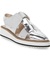 Shellys London - Silver Dae Slingback Wedge Sandals - Lyst