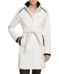 Vince Camuto - Faux Leather-trimmed Blended Wool Coat - Lyst