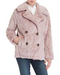 Lush - Mauve Double-breasted Faux Fur Coat - Lyst