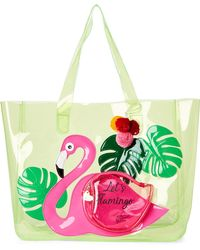 Betsey Johnson - Green Flamingo Clear Pvc Beach Tote - Lyst