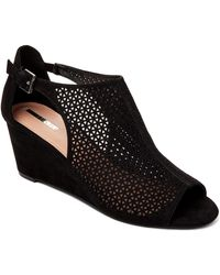 Tahari - Black Stage Perforated Wedge Sandals - Lyst