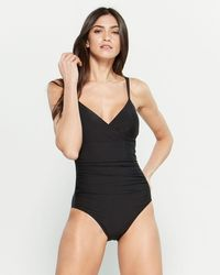 4d6ed4838e51 DKNY Solid One Shoulder Asymmetrical Cut Out One Piece Swimsuit in Red -  Lyst