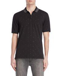 Armani - Black Dash Embroidery Polo - Lyst