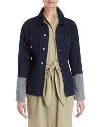 Erika Cavallini Semi Couture - Oversized Cuff Denim Jacket - Lyst