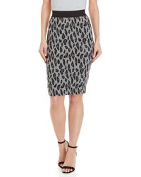 GAUDI - Leopard Print Knit Pencil Skirt - Lyst