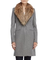 Sam. - Real Fur Collar Crosby Wool Coat - Lyst