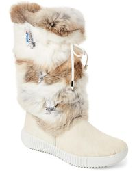 Pajar - Beige Juliana Real Fur Boots - Lyst