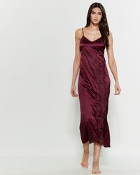 Cotton Club - Satin Lace Detail Nightgown - Lyst