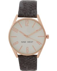 Nine West - Nw/2182 Rose Gold-tone & Black Watch - Lyst