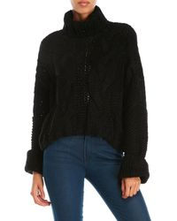 Pol - Chunky Cable Knit Cropped Sweater - Lyst