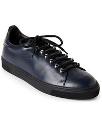 Louis Leeman - Navy & Black Leather Low-top Sneakers - Lyst