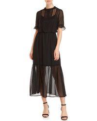 Kensie - Clip Dot Ruffle Maxi Dress - Lyst