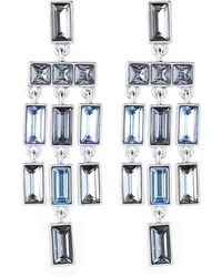 Vince Camuto - Rhodium-tone & Blue Gem Drops Chandelier Earrings - Lyst