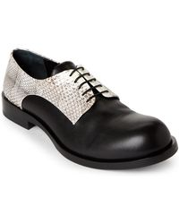 Jil Sander | Black Leather & Snakeskin Derby Shoes | Lyst