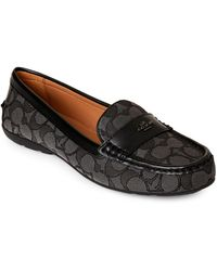 9a12b9e24d5b Lyst - COACH Black Smoke Chelsea Signature Ballet Flats in Black