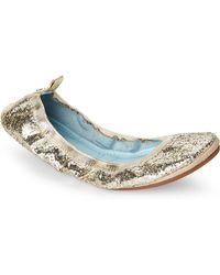 Yosi Samra - Hitched Serena Glitter Foldable Ballet Flats - Lyst