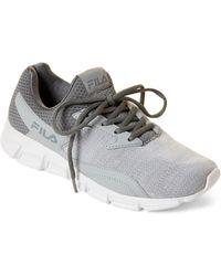 8de0c3157 Fila - Grey   White Fastreactor Knit Running Sneakers - Lyst
