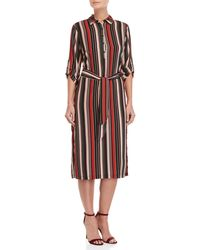 Lush - Rust Striped Belted Shirt Dress - Lyst