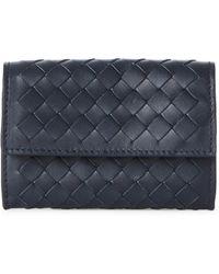 Bottega Veneta - Navy Intrecciato Leather Card Case - Lyst