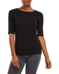 Cable & Gauge - Beaded Three-quarter Sleeve Top - Lyst