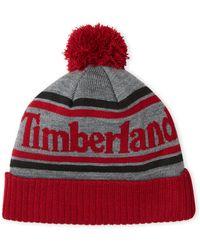 Timberland - Black   Grey Pom-Pom Knit Hat - Lyst 06c208198a7a