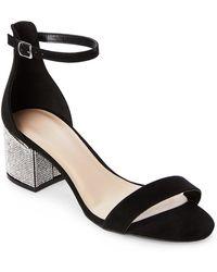 Wild Diva - Black Larina Jeweled Block Heel Sandals - Lyst