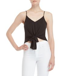 Lush - Black Self-tie Cropped Tank Top - Lyst