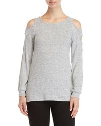 Pink Rose - Strappy Cold Shoulder Sweater - Lyst