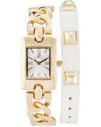 Adrienne Vittadini - Ad1033T165 Gold-Tone & White Watch - Lyst