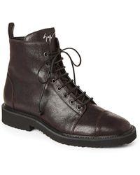 Giuseppe Zanotti - Brown Tyson Leather Combat Boots - Lyst