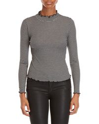 Derek Heart - Striped Mock Neck Top - Lyst