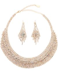 Natasha Couture - Gold-tone Crystal Necklace & Earrings Set - Lyst