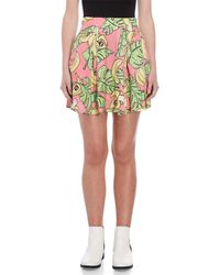 Love Moschino - Printed Pleated Skater Skirt - Lyst