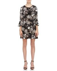 Connected Apparel - Floral Tie-neck Bell Sleeve Dress - Lyst