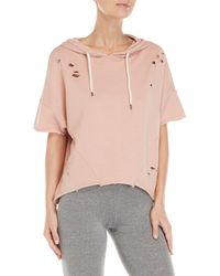 Betsey Johnson - Distressed Batwing Cropped Hoodie - Lyst