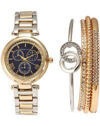 Adrienne Vittadini - Adst1654G165 Gold-Tone & Blue Watch & Bracelet Set - Lyst