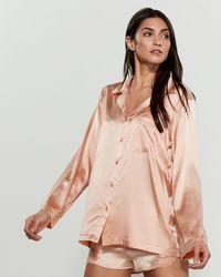 Cotton Club - Peach Satin Pajama Shirt - Lyst