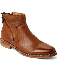 Steve Madden - Tan Tackled Dual-zip Leather Boots - Lyst