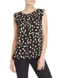 Premise Studio - Dot Sleeveless Ruffle Top - Lyst