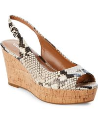 COACH - Chalk Ferry Lux Snake Cork Wedge Sandals - Lyst