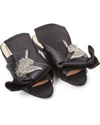N°21 - Black Embellished Satin Slide Sandals - Lyst