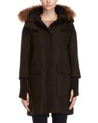 SOIA & KYO - Wool Real Fur Trim Hooded Coat - Lyst