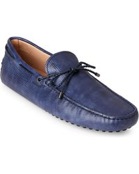 Tod's - Light Blue Textured Leather Drivers - Lyst