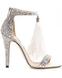4c1a29723548 Jimmy Choo Viola Crystal-embellished sandal in White - Lyst