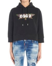 DSquared² - Cropped Sleeves Logo Hoodie - Lyst
