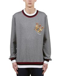 38daf68d Dolce & Gabbana Printed Cashmere And Silk Sweater in Blue for Men - Lyst